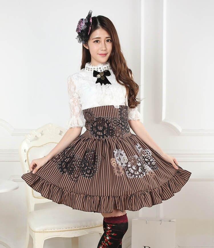 XS-XL taille haute Punk Lolita jupes gothique vapeur Machine Gear brun rayure à volants ourlet jupe femmes Vintage rétro dame's Royal SK