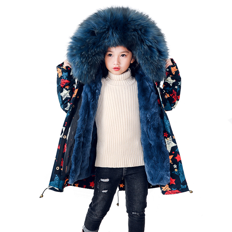 Girls fur Coat Graffiti Cotton Jacket Real Rabbit Fur Liner Children Outwear Natural Raccoon Fur Hood Boys Warm Jacket  TZ120Girls fur Coat Graffiti Cotton Jacket Real Rabbit Fur Liner Children Outwear Natural Raccoon Fur Hood Boys Warm Jacket  TZ120