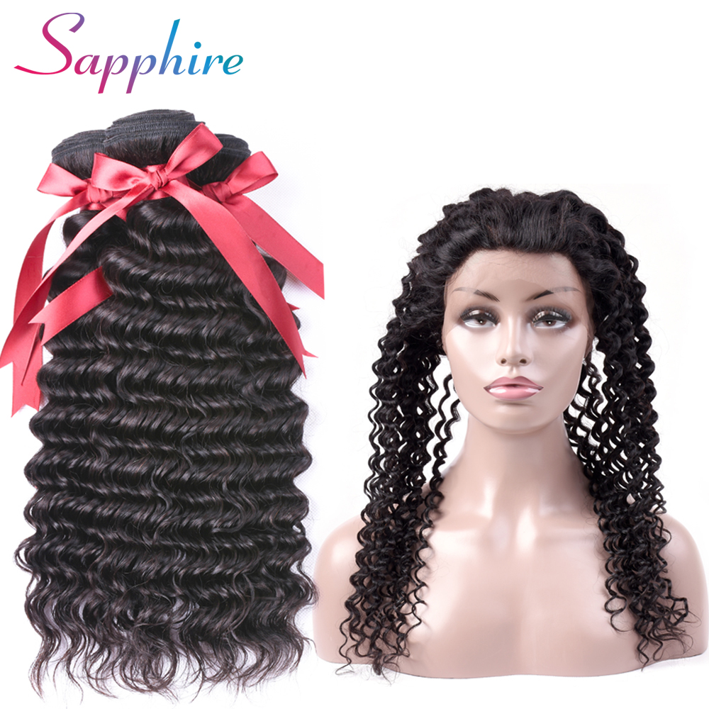 SAPPHIRE Peruvian Deep Wave 3 Bundles With 360 Lace Frontal Closure Human Hair Weave Bundles With Frontal NonRemy Hair