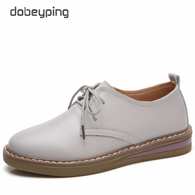 dobeyping 2017 Autumn Women Boat Shoe Genuine Leather Women Shoes Lace-Up Woman Flats Shoes Solid Ladies Oxfords Female Loafers 2017 spring autumn new genuine leather lace up oxford shoes female thick bottom flats shoes europe style martin shoe obuv