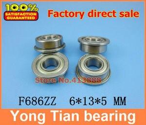 F686 ZZ Flange Bearing 6x13x5 mm ABEC-5 ( 10 PCS ) Flanged F686 Z ZZ Ball Bearings F618/6ZZ 6*13*15*5*1.1 mm(China)