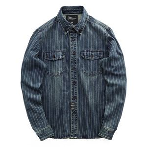 Image 5 - Men Spring And Autumn Fashion Brand Vintage Japan Style Sand Washing Stripe Long Sleeve Denim Shirt Male Casual Thick Dyed Shirt