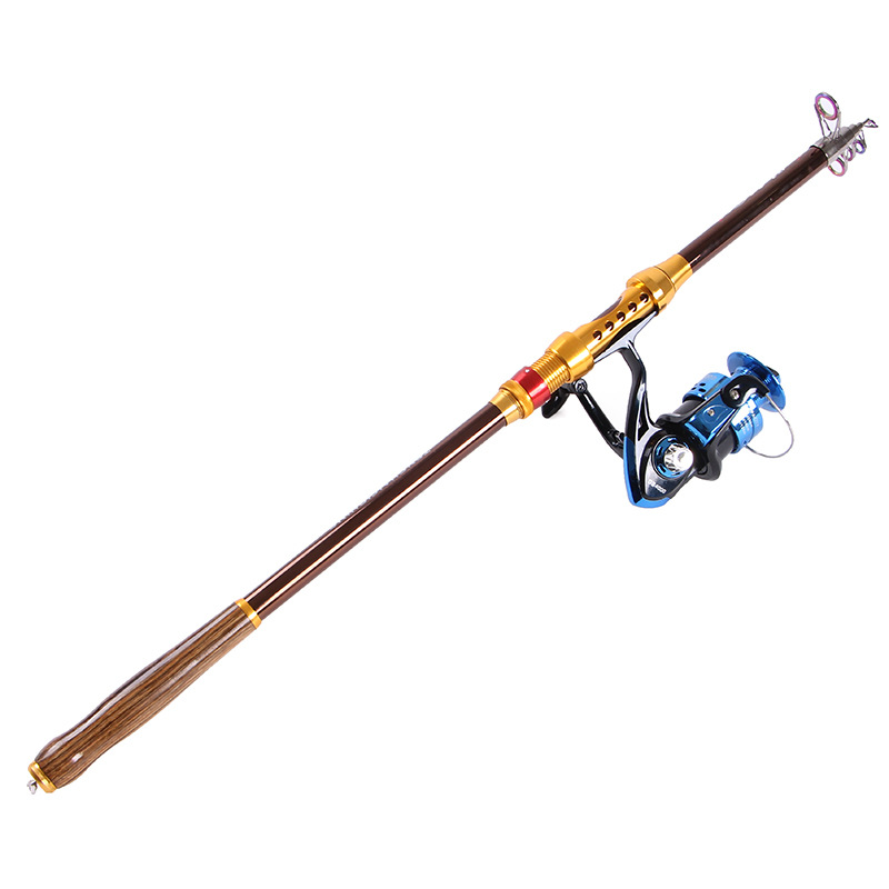 Wooden Handle Carbon 2.1M 2.4M 2.7M 3.0M 3.6M Portable Telescopic Fishing Rod Spinning Fish Hand Fishing Tackle Sea Rod
