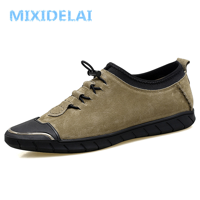 MIXIDELAI Genuine Leather Shoes Men Luxury Brand Mens Shoes Casual Moccasins Men Fashion Loafers Men Flat Driving Shoes Hot Sale big size men work casual shoes fashion mens loafers luxury genuine leather lace up flat father driving shoes lmx b0024