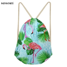INSTANTARTS Casual Softback Woman Drawstring Bags Green Tropical Leaf With Flamingos Print Backpacks for Girls Fashion Beach Bag