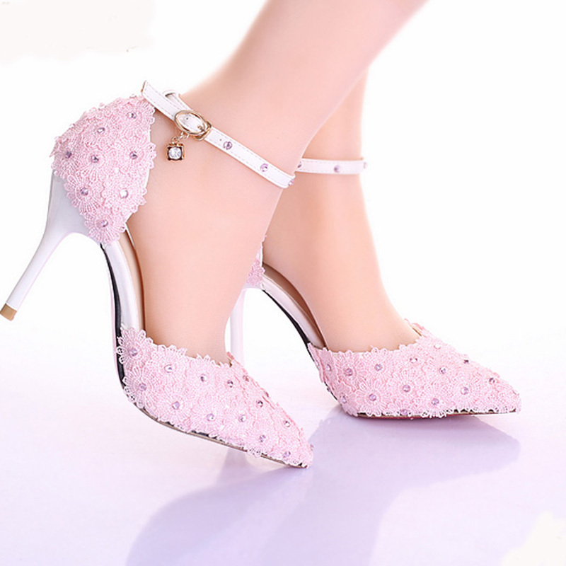 900e0e6f909 New Style 3Inches Pink Pointed Toe Lace Women Pumps Ladies Platform Formal  Shoes Ankle Strap Stiletto Heel Bridesmaid Shoes-in Women s Pumps from Shoes  on ...