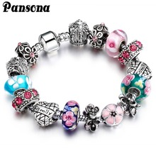 Crystal Beads Charm European Bracelets & Bangles Vintage Bracelets For Women silver plated DIY Jewelry