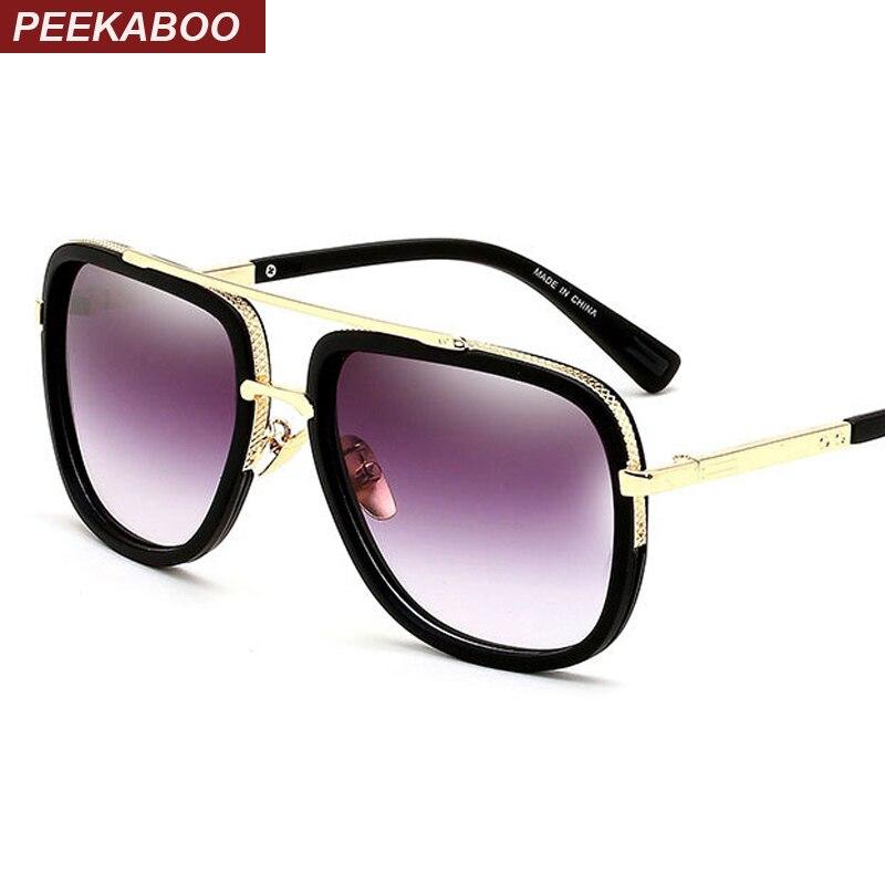 Peekaboo Mens gafas de sol marca diseñador cuadrado grande hombres conducir gafas de sol mujeres gradiente negro mate lunettes de soleil