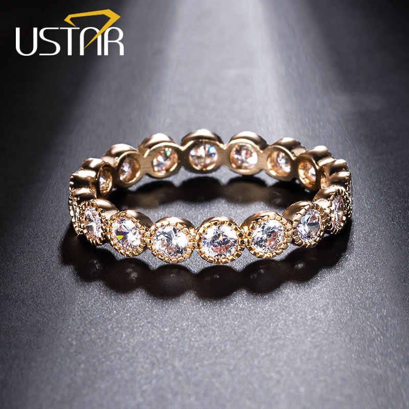 USTAR Cristalli Anelli di Fidanzamento per le donne con AAA Cubic Zirconia Oro Rosa anello di barretta di cerimonia nuziale di colore femminile Anel Gioielli bijoux
