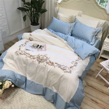 New arrival White blue queen king Bedding Set Egyptian cotton embroidery bed set bed cover soft Bedsheets Duvet quilt cover set