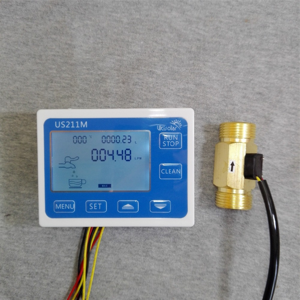 US211M Display with USC-HS43TB Brass Flow Meter Totalizer Flow Measurement 2-45L/min Range G3/4 Male Thread us208mt flow totalizer usn hs10pa 0 5 10l min 10mm od flow meter and alarmer totalizer frequency counter hall water flow sensor