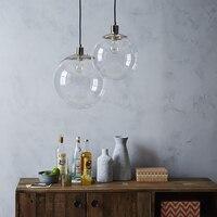 YWXLight 30CM Modern Nordic Pendant Lights Transparent Glass Ball LED Light E27 Bulb LED Lamp Used for Bedroom Home Restaurant