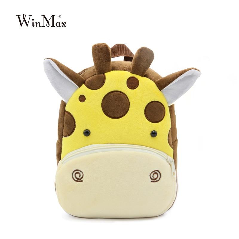 Cute Zoo Plush School Bag For Girls And Boys Cartoon Kindergarten Backpack Kids Animal Stuffed Toy Bag Infants Panda Dog Giraffe