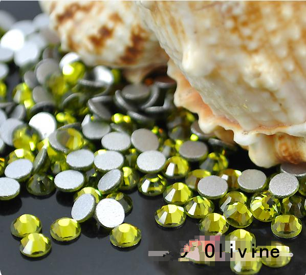 SS3--SS34 Crystal Olivine / Green Non Hotfix Rhinestone Nail Rhinestones Nails Nail Art Decoration Jewelry Accessories Stones super shiny 1440p ss6 2mm crystal light green peridot nail rhinestones non hotfix rhinestones nail art decoration