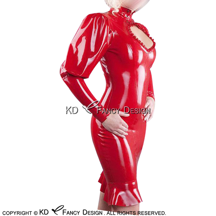 Red Sexy Latex Dress With Back Zip Puff Sleeves And Ruffles Rubber Dress Bodycon Playsuit Plus Size LYQ-0142