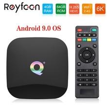 Q Plus 4GB RAM 64GB ROM Android 9.0 TV Box Allwinner H6 Quad Core USD3.0 6K HDR Wifi Support Google Player Youtube Set Top Box