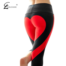CHLEISURE Fashion Heart Push Up Leggings Women Autumn Harajuku Sporting Leggings Patchwork Polyester Leggings S-3XL 7 Colors