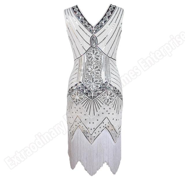 Women 1920 s Vintage Great Gatsby Dress Sequins Dress V-Neck Tassels Bodycon Beaded Party Dress Flapper Dresses Art Deco Double 13