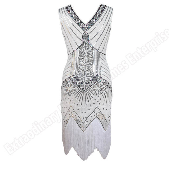 Us 20 26 43 Off Women 1920 S Vintage Great Gatsby Dress Sequins V Neck Tels Bodycon Beaded Party Fler Dresses Art Deco Double In