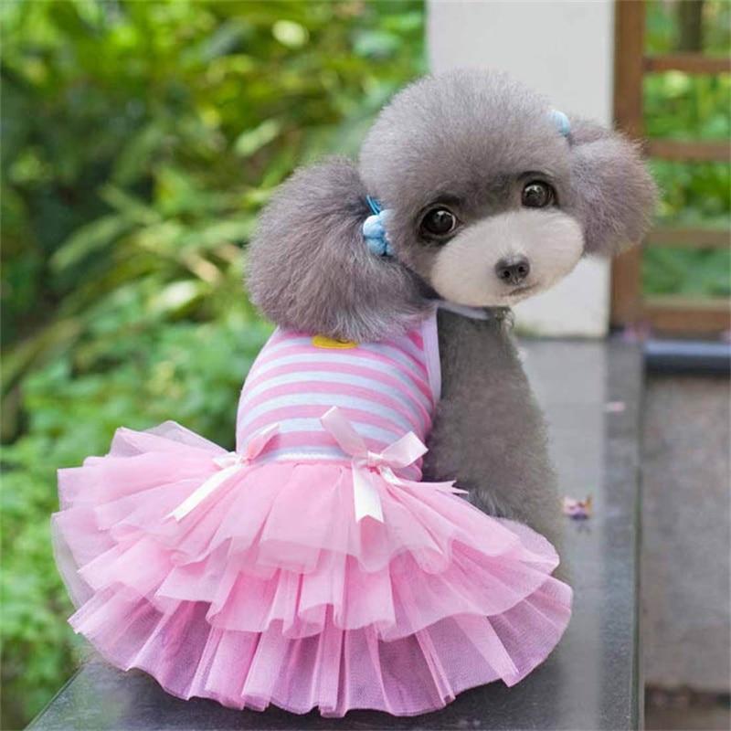 2017 Sweet Puppy Cotton Striped Princess Dress Dog Camisole Mascotas Cachorro Perros Para Perros Pet Cat Dog Clothes Dress