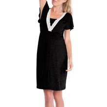 Fashion lace stitching mother breastfeeding multi-color maternity dress