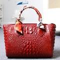 2017 large capacity women handbag genuine leather shoulder bags ladies big real leather bag crocodile pattern handbags