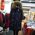 2016 Novas Mulheres Jaqueta de Inverno Casaco Longo Para Baixo com o Real Guarnição de pele Com Capuz de Pele De Guaxinim Jaquetas Parkas Outwear Top Quente qualidade