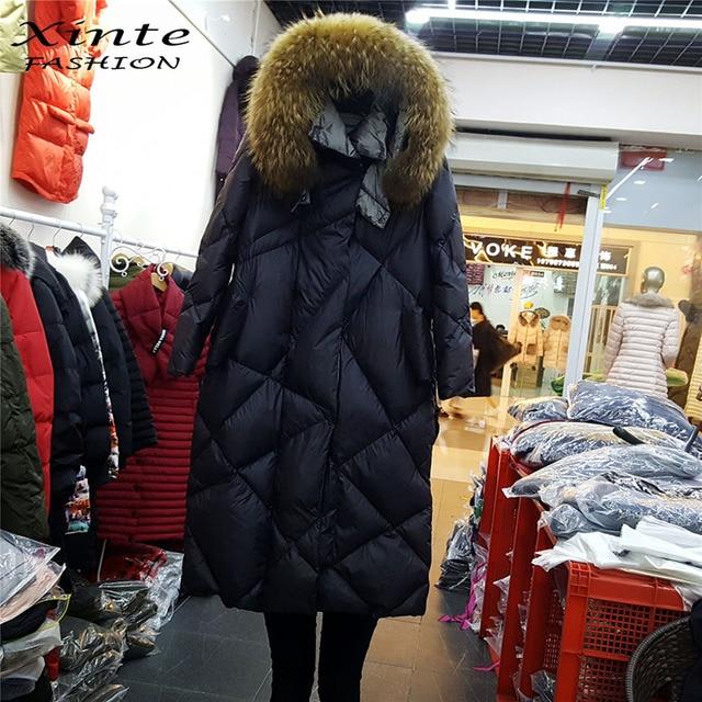 4c6d39ef693 2018 Winter Jacket Women Long light White Down Coat with 100% Real Raccoon  Fur Hood Jackets Outwear Warm Top Quality