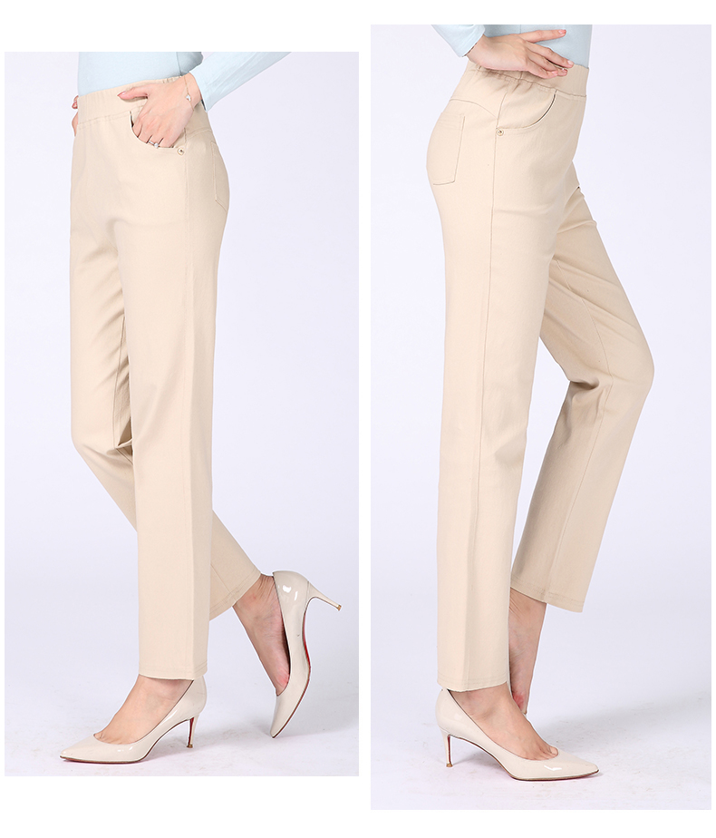 Women Casual Pants Plain Color Basic Trousers Spring Autumn Pantalones Mujer High Elastic Band Waist Pant Red White Gray Black (19)