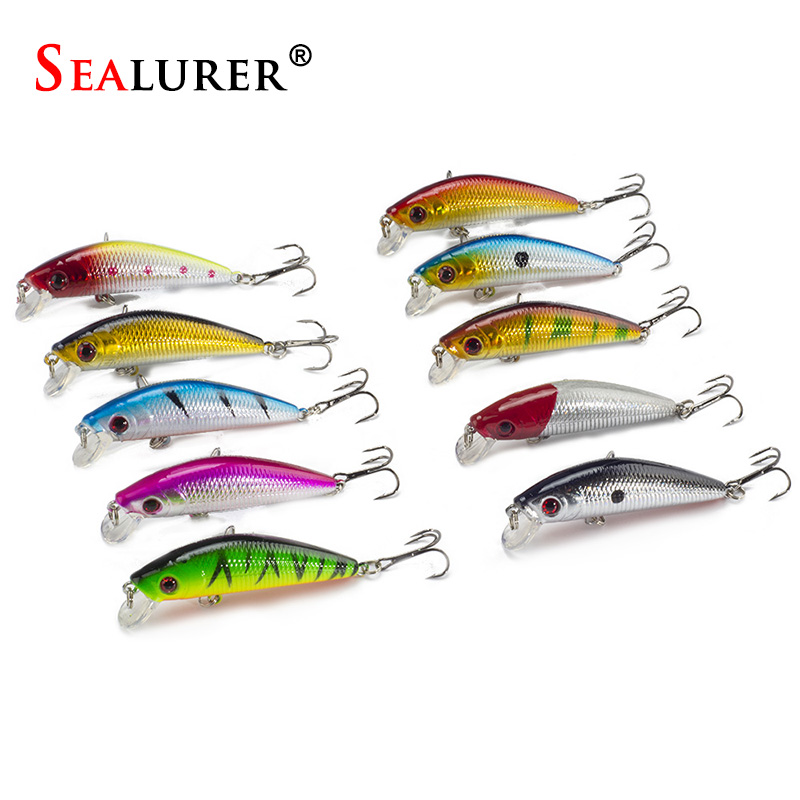 SEALURER 10pcs/lot Minnow Fishing Lure 7CM 8.5G 6# Hooks Wobbler Floating Crankbait Artificial Pesca Hard Bait Swimbait Tackle sealurer brand big wobbler fishing lures sea trolling minnow artificial bait carp peche crankbait pesca jerkbait