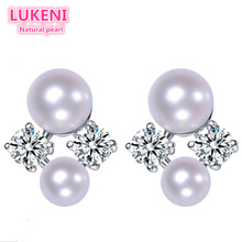 Genuine 925 Sterling Silver jewelry  Double pearl natural pearl stud earrings Fashion earrings for women Free shipping