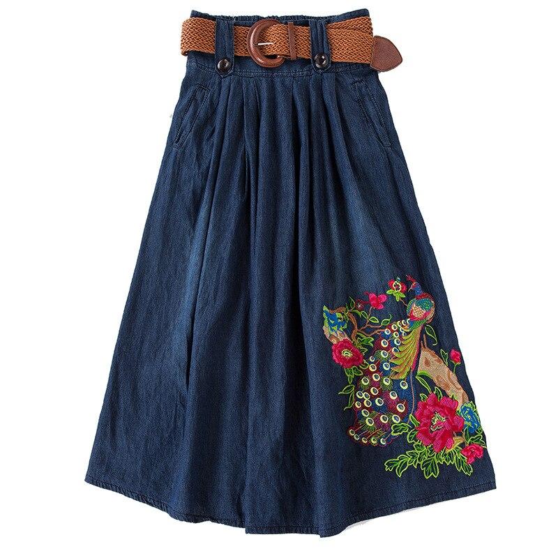 3XL 4XL 5XL jupe femme broderie grande taille cheville longueur longue mince jupe en jean avec ceinture