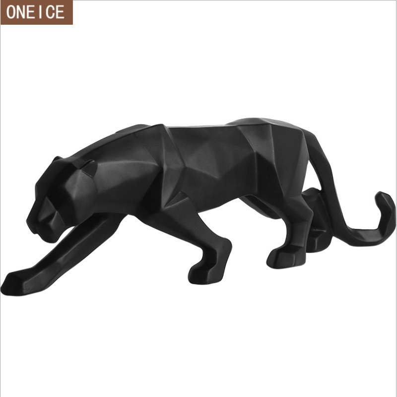 Modern abstract black panther sculpture statue geometric resin leopard statue wildlife decoration gift craft ornamentaccessories