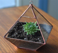 Small Geometric Glass Planters Decoration For Home Garden Plants Hanging Glass Pots And Solder Glass Terrarium