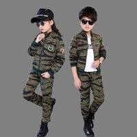 Children's Camouflage Clothing Set Fall Boys Military Uniform Kids Handsome Sport Suit Clothes Girls Jacket + Pants 2 Pcs X159