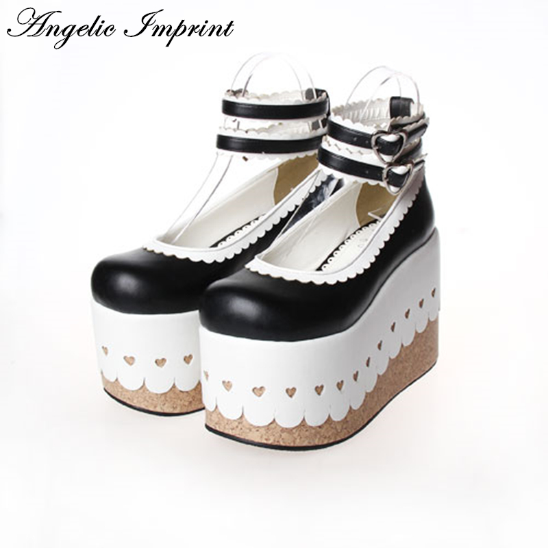 Japanese Classic Black and White Super Thick Platform Lace Trim Princess Girl Shoes Lolita Cosplay Ankle Shoes