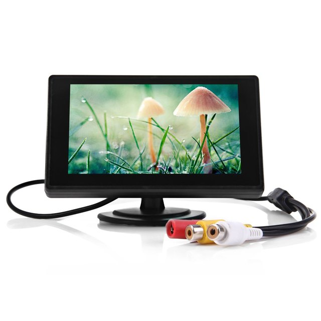 Free shipping 4.3 Inch Rear view Monitor Car Rear view Backup Monitor TFT LCD Parking Car 2 Video Input for Reverse Camera DVD