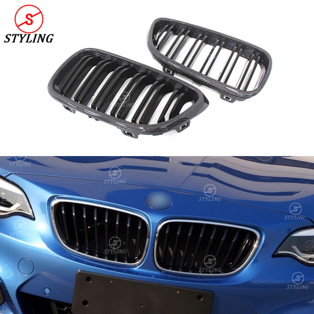F22 Grill For BMW F23 F87 M2 Plastic & Carbon Fiber Front Grille Front Bumper lip Gloss Black 3 color 2014 2015 2016 2017 2018+ image