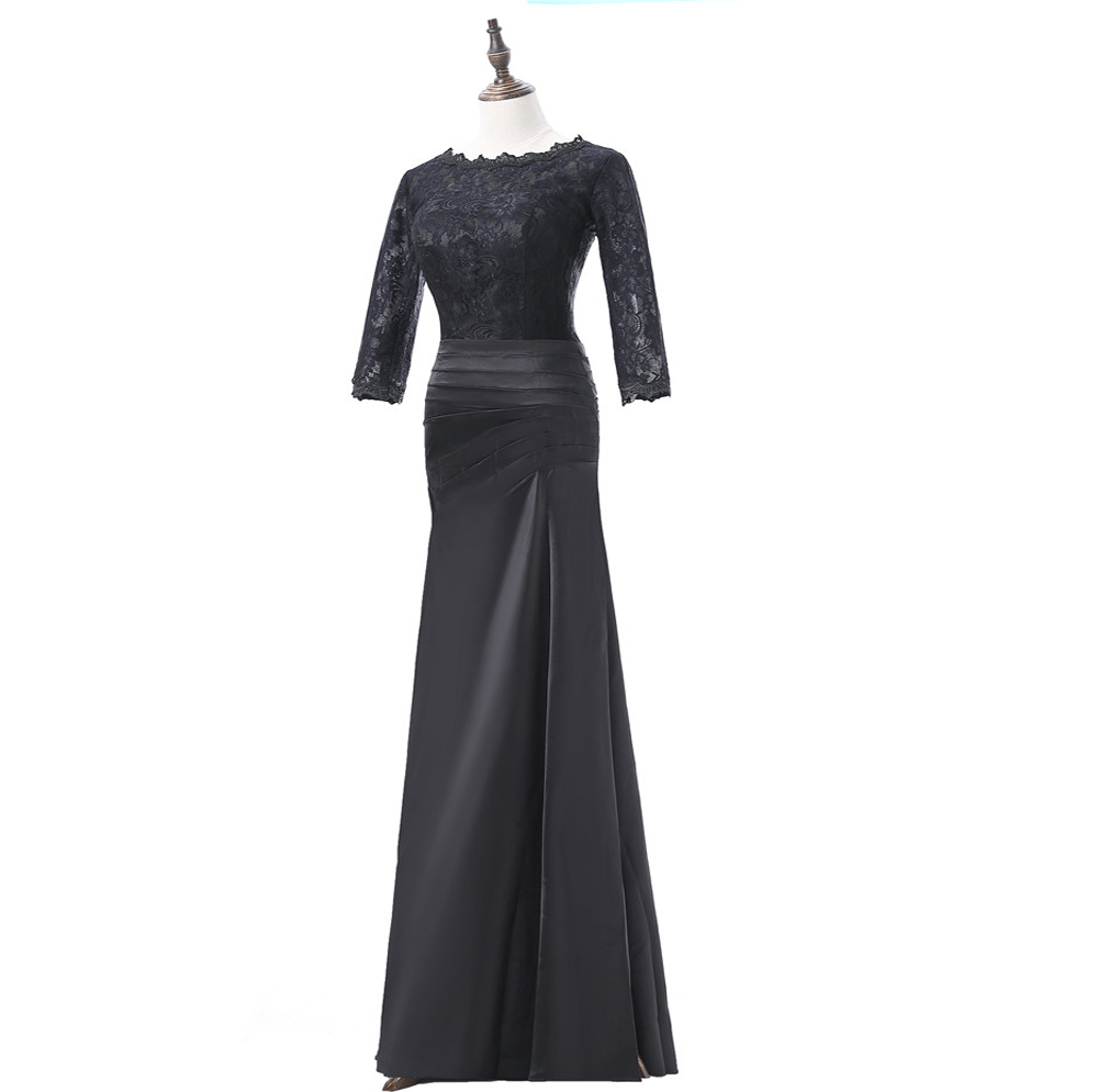 Noir 2019 mère de la mariée robes sirène 3/4 manches dentelle grande taille marié mère robes longues robes de soirée pour les mariages - 3