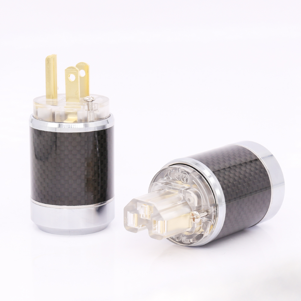 Pair Carbon fiber Gold Plated US AC Male Plug HIFI Female Power connector DIY AC Power cable viborgx 1 pair hifi audio carbon fiber transparent copper plated power cable extension adapter us ac power plugs