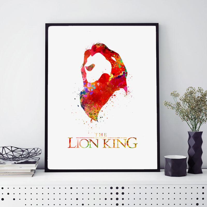 The Lion King Watercolor Poster Nursery Wall Art Print Simba Kids ...
