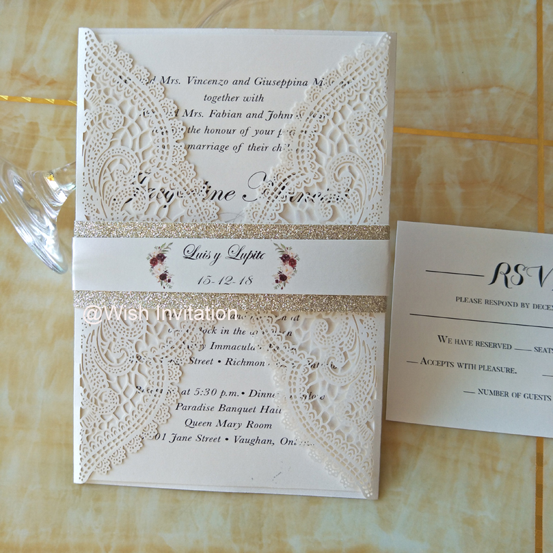 Us 38 25 15 Off Lace Quinceanera Invitations Laser Cut Sweet 15 Sweet 16 Wedding Invitations With Glitter Belly Band Flower Ivory Invites In Cards