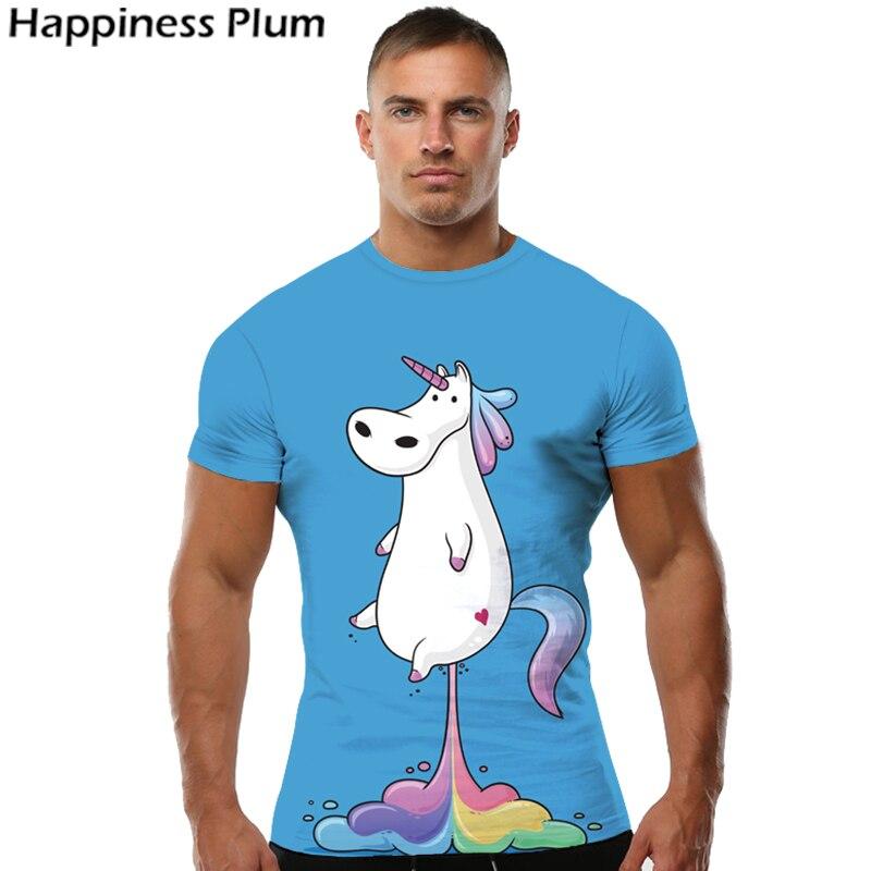 KYKU Unicórnio Tshirt Homens Camisa Animais T Camisas Engraçadas de T Rainbow cavalo 3d Impressão T-shirt Tee Hip Hop Fresco Azul Dos Homens de Roupas 2018