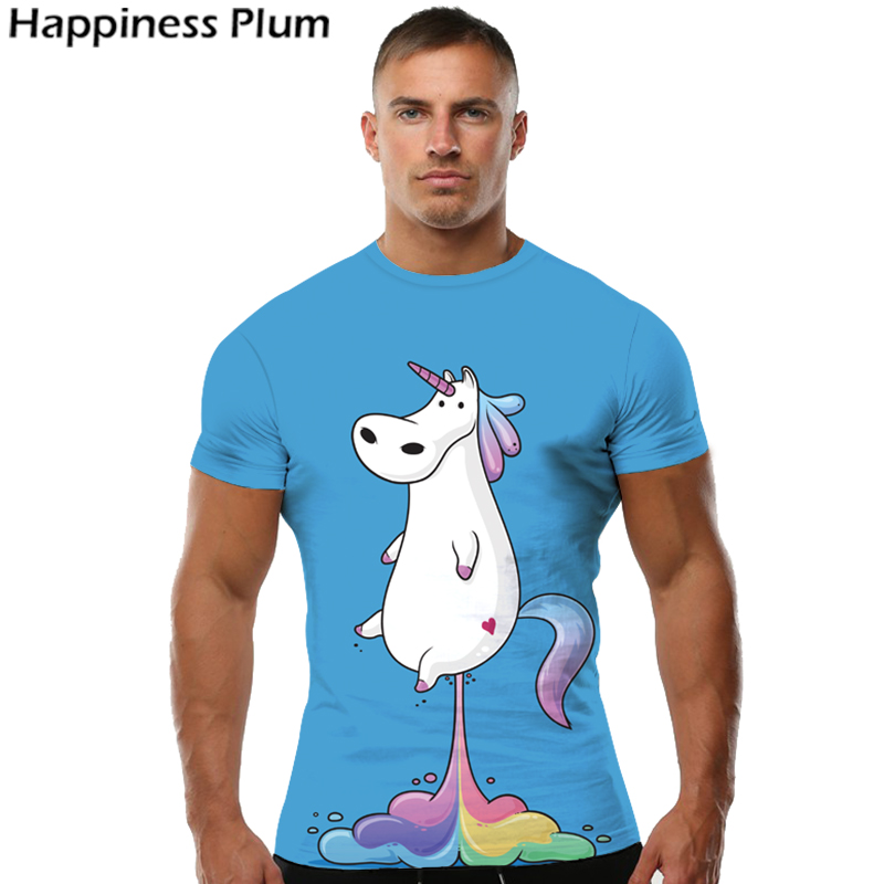 KYKU Unicorn Tshirt Men Animal   T     Shirt   Funny   T     Shirts   Rainbow Horse 3d Print   T  -  shirt   Hip Hop Tee Cool Blue Mens Clothing 2018