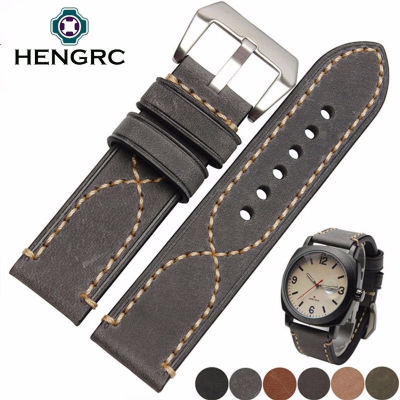 Italy Genuine Leather Watch Band Strap Men Cowhide Thick Watchband Belt Lady 20mm 22mm 24mm Bracelet Metal Buckle For Panerai hengrc fashion genuine leather watch band belt 20mm 22mm brown blue high quality men strap metal needle buckle for panerai