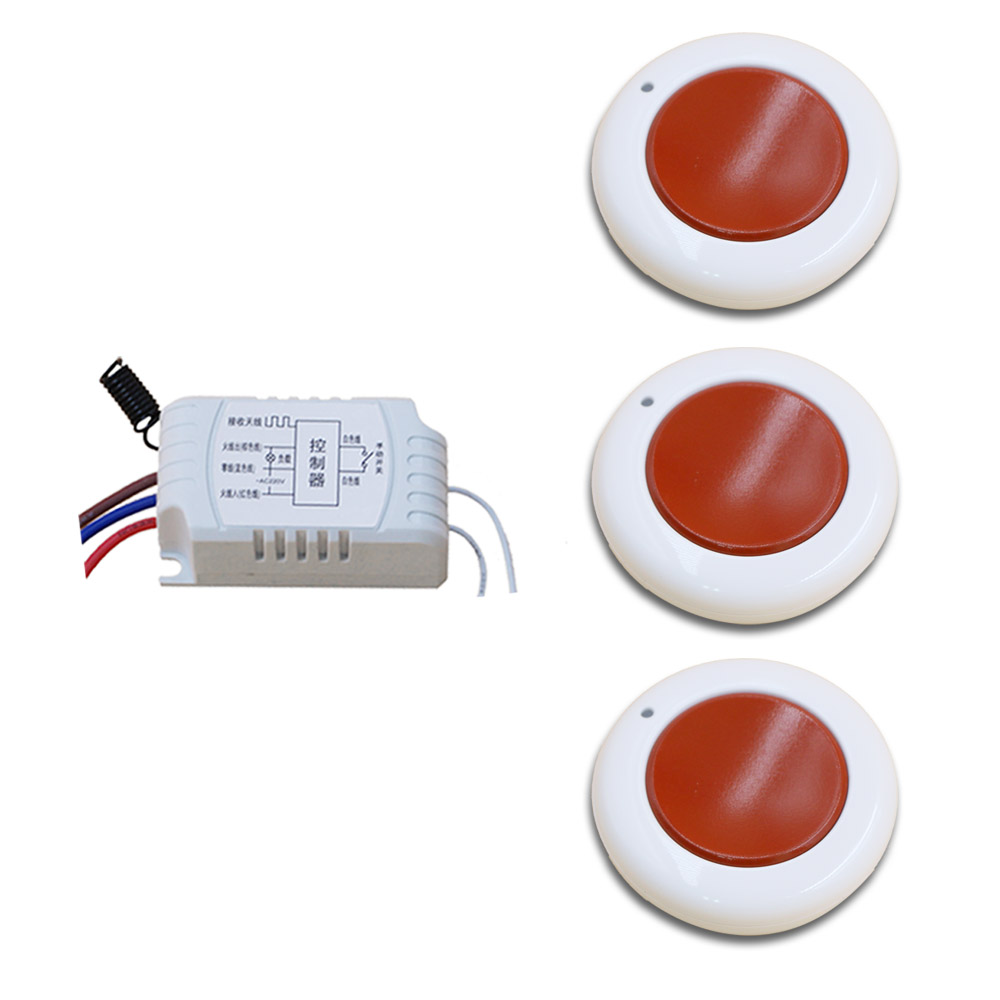 2107 New Item 1CH RF Wireless Remote Control Switch System, 3X Transmitter + 1 X Receiver 315/433 MHZ Learning Code
