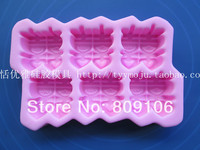 Wholesale/retail, free shipping, Double happiness 6 hole sugar cake mould tools silica gel handmade soap mould  baking tool