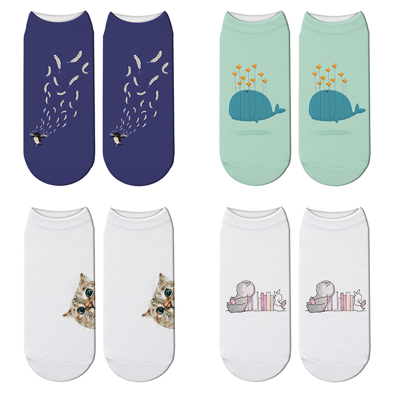 New 3D Printed Cartoon Animal Cat Socks Whale Funny Cute Penguin Short Ankle Socks For Women Harajuku Elephant Kawaii Socks