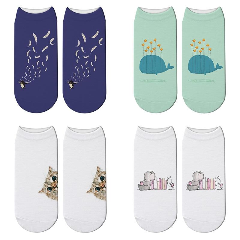 New 3D Printed Cartoon Animal Cat Socks Whale Funny Cute Penguin Short Ankle Socks For Women Harajuku Elephant Kawaii Socks