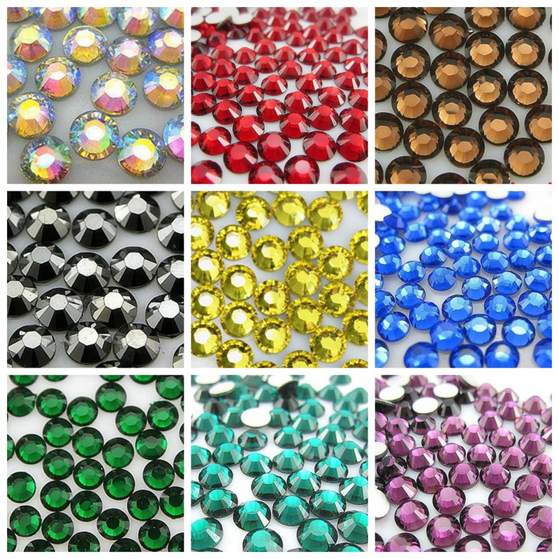 22 Colors 1000pcs 6mm High Quality Acrylic Nails Rhinestones